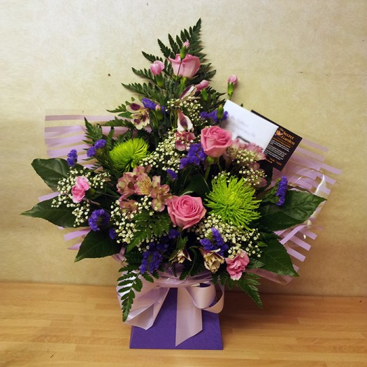 Classic Pink and Purple Box Arrangement
