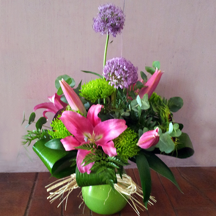Pink, Lime and Green Handtied in Vase
