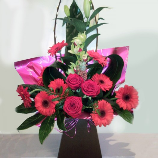 Gorgeous Hot Pink Box Arrangement With Orchid