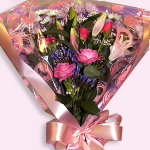 Pretty Pink Rose and Lily Bouquet