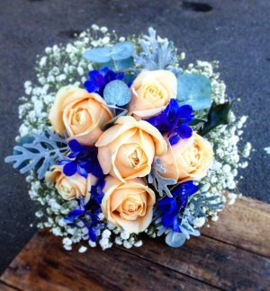 Peach & Blue Brides Bouquet