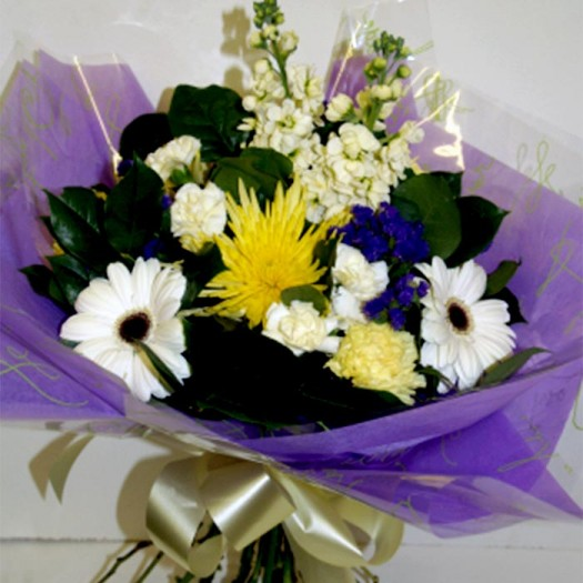 Lovely Lilac White and Yellow Handtied