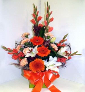 Warm Orange Toned Box Arrangement