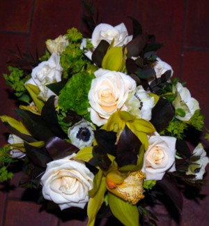 Pretty Green and Cream Posy