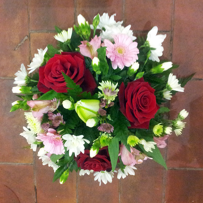 Red Rose and Pink Posy