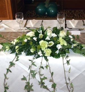Lime & White Top Table Arrangement