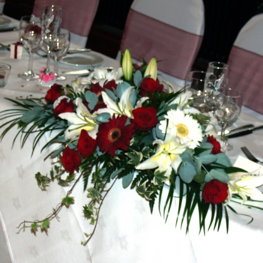 Red & White Top Table Arrangement