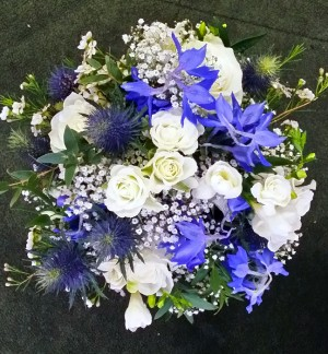 Delicate Blue & White Bridesmaids Bouquet