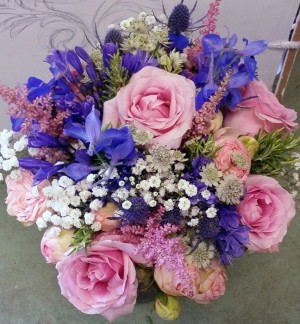 Pink Rose & Delphinium Brides Bouquet