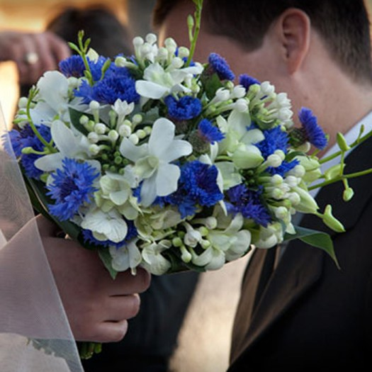 White Orchid & Blue Brides Bouquet