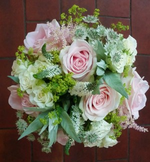 Delicate Pink & Green Brides Bouquet