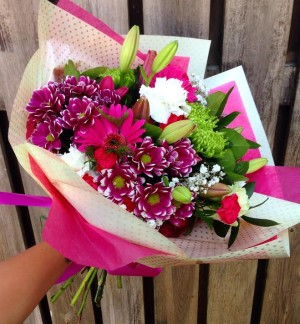 Seasonal Pink and green Handtie