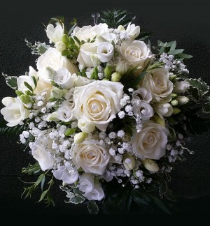 White Rose & Freesia Brides Bouquet