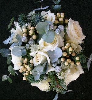 White Rose & Hypericum Bridesmaid Bouquet